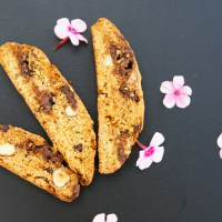 Italian Biscotti with Hazel and Macadamia Nuts and Two Sorts of Chocolate