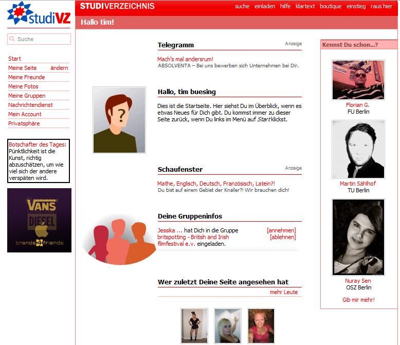 My Studi VZ profile