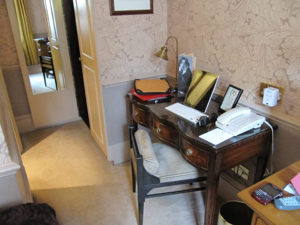 My little desk area at the Cadogan Hotel.