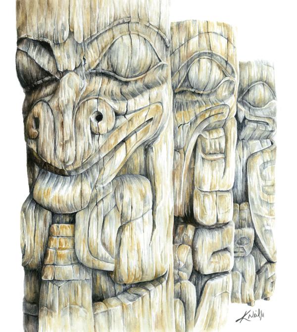 Haida Totems, watercolour, 2011
