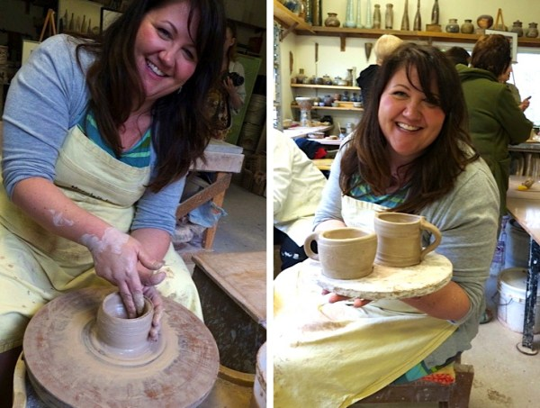 Me spinning the pottery wheel and showing off our creations.