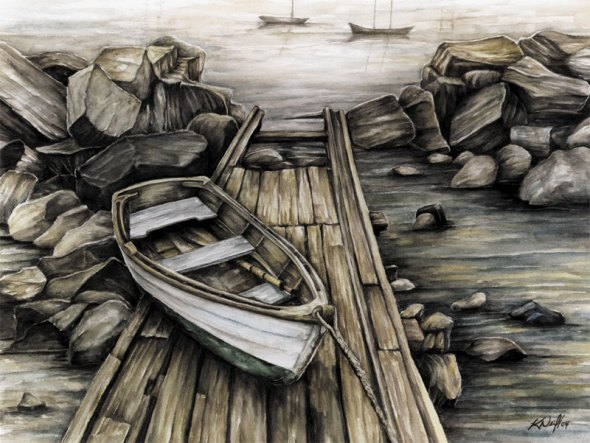 Boat on dock, watercolour, 2004