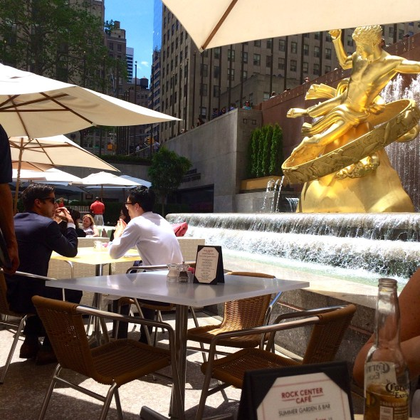 Lunch at Rockefeller Centre. (RIght where the skating rink is in winter).