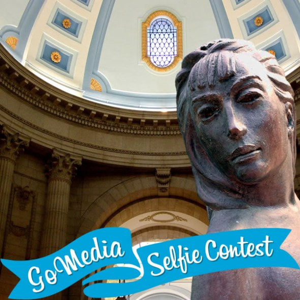 Leo Mol statue at the Manitoba Legislative Building. GoMedia 2014 Selfie Contest for Travel Manitoba.