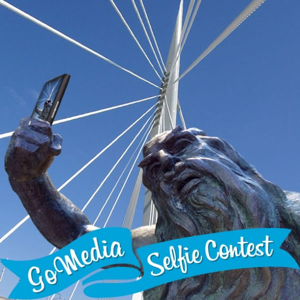 Leo Mol Moses at Esplanade Riel. GoMedia 2014 Selfie Contest for Travel Manitoba.