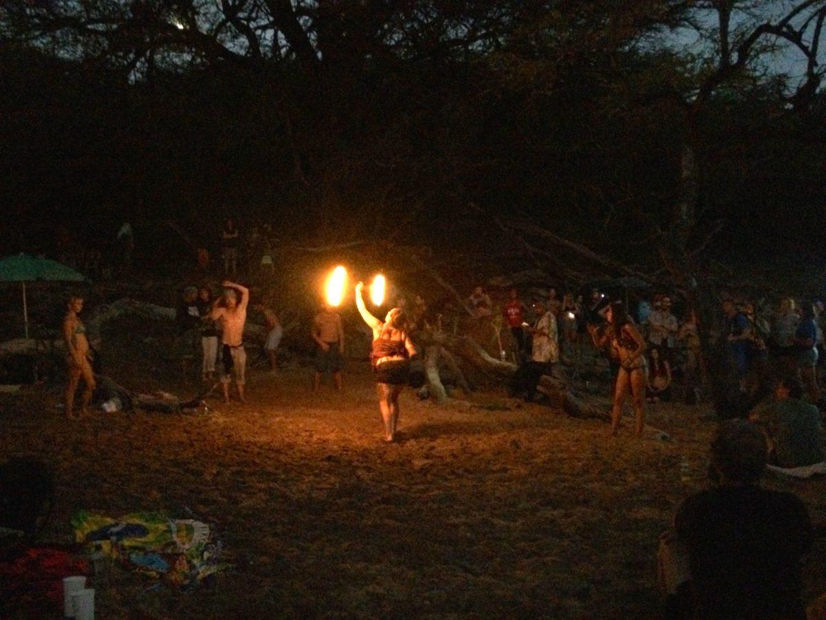 Fire dancing at Little Beach, Makena, Maui