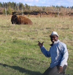 Posing with the bison.