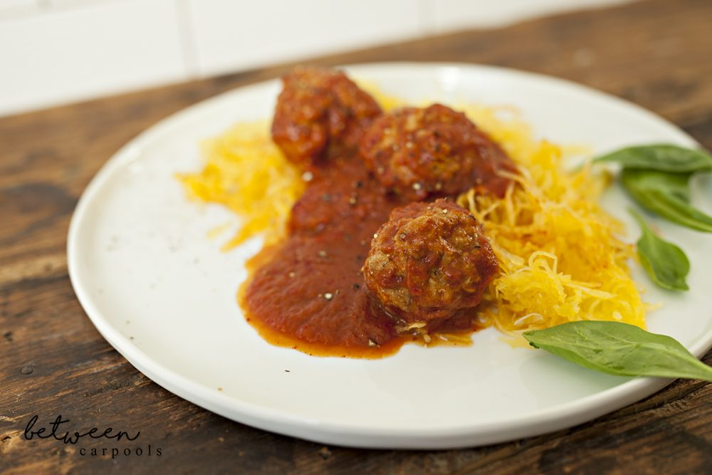 My Guilt-Free Spaghetti (Squash) and Meatballs. Kosher Recipes for the busy Jewish woman only on betweencarpools.com. A lifestyle blog for the frum woman.