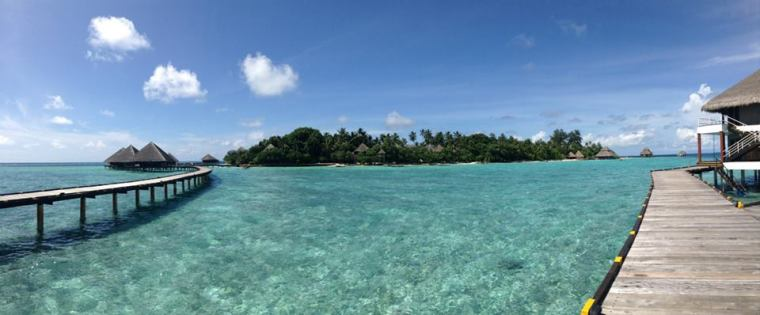 Maldives Water Bungalow looking back towards island