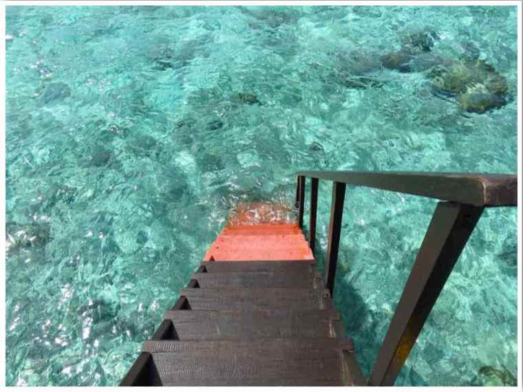 Maldives overwater bungalow ladder into the ocean