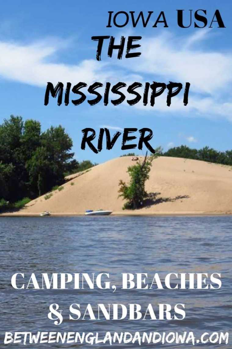 Facts about the Mississippi River. Mississippi River beaches, camping, locks and dams, barges.  Mississippi River in Iowa USA