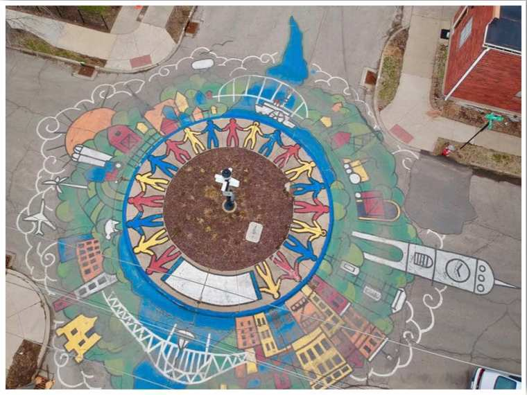 Dubuque roundabout mural