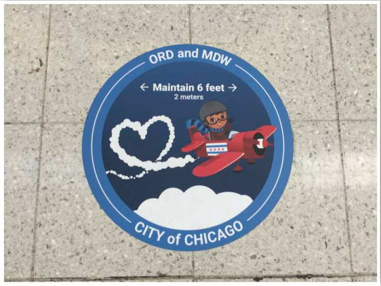 Chicago ORD maintain 6 feet floor sticker