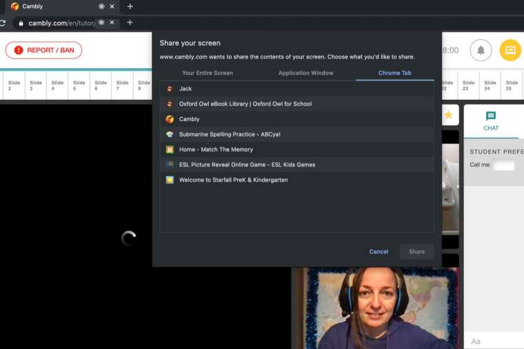 How to screen share on Cambly