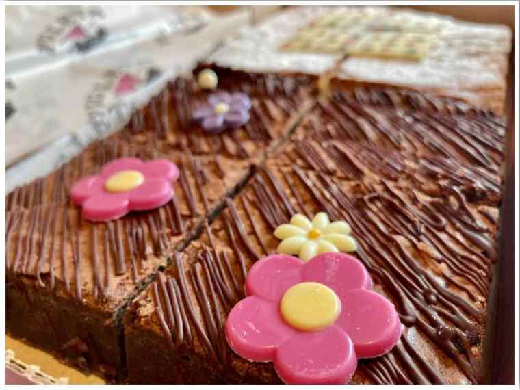 Piglets Pantry Brownies with flower decorations