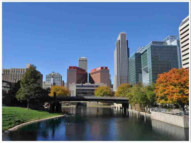 Downtown Omaha Nebraska in fall by Nikki