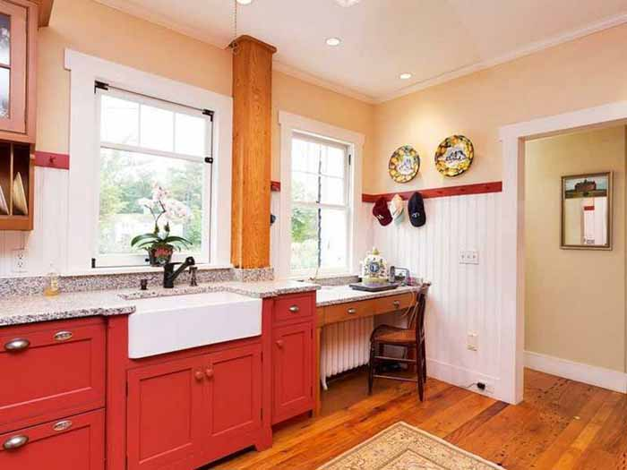 Cottage Kitchen with Red Cabinets
