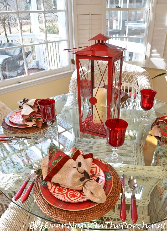 Valentines Day Table Setting In Plaid And Paisley