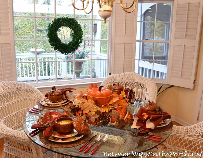 Autumn Table Setting With Roasted Pumpkin Soup