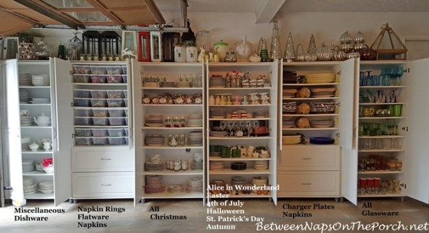 the great dish storage experiment, plus some new chargers & napkin rings