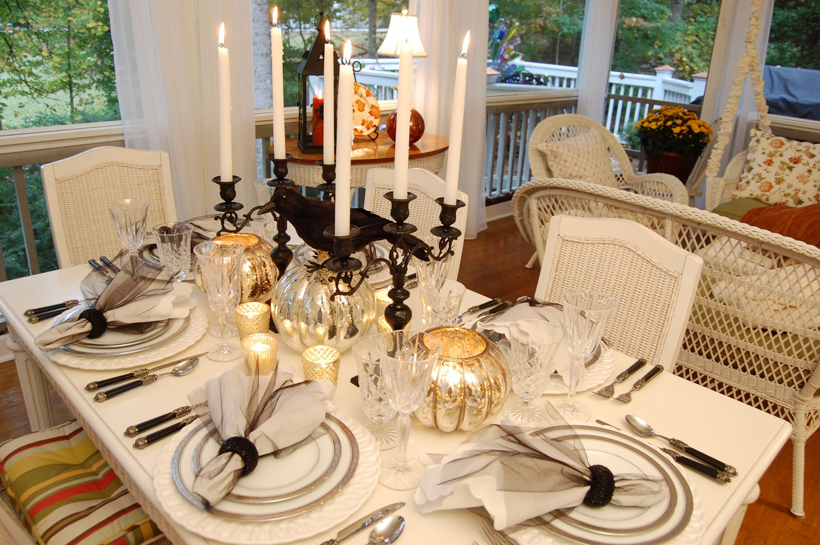 halloween tablescape with mercury glass