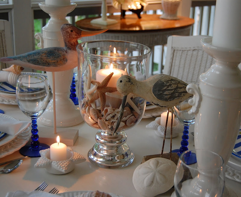 Beach Themed Table Setting With Crab Plates, Shell