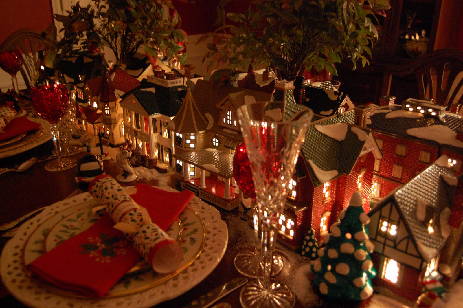 Christmas Table Setting Tablescape With Dept 56 Lit