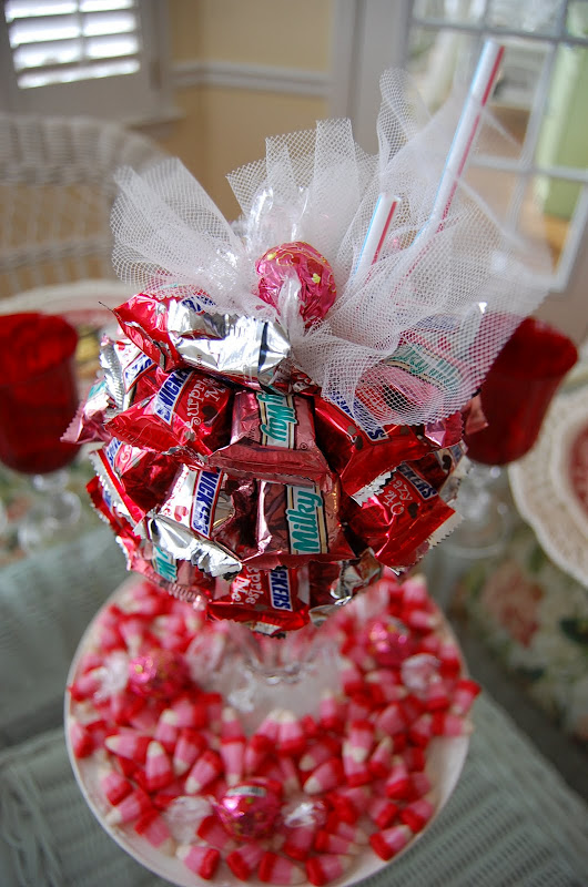 A Valentines Day Tablescape Table Setting With DIY Candy Bar Sundae Centerpiece