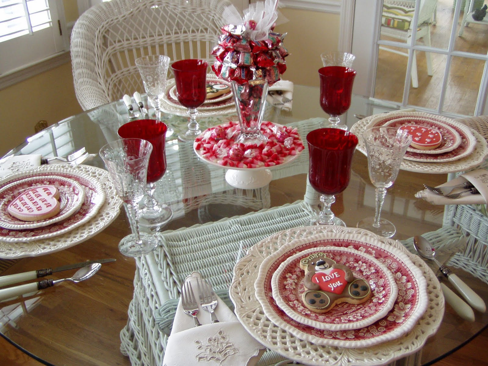 A Valentines Day Tablescape Table Setting With DIY Candy