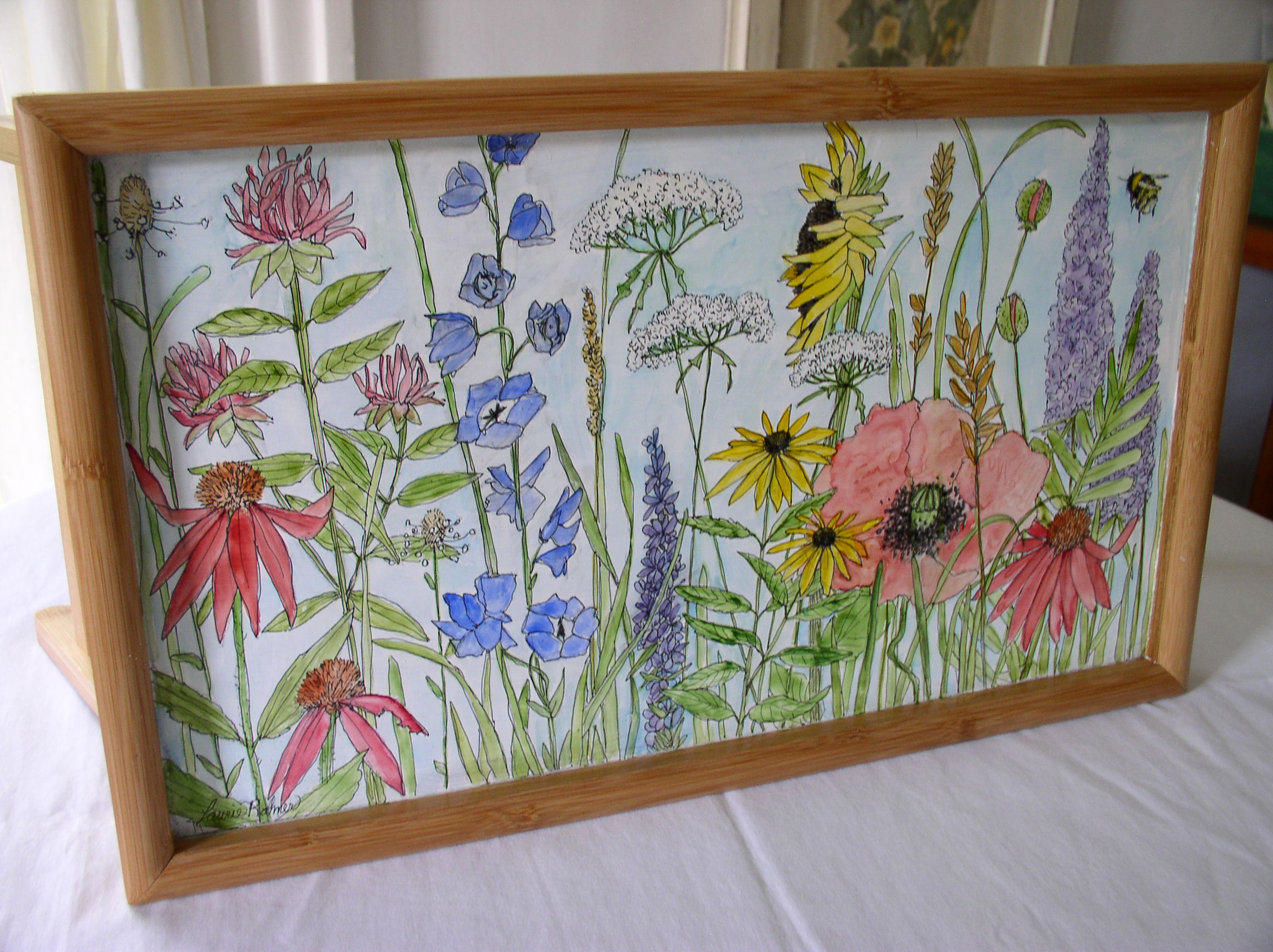 Farmhouse Watercolor Painted Wood Tray with Botanical Garden Flowers