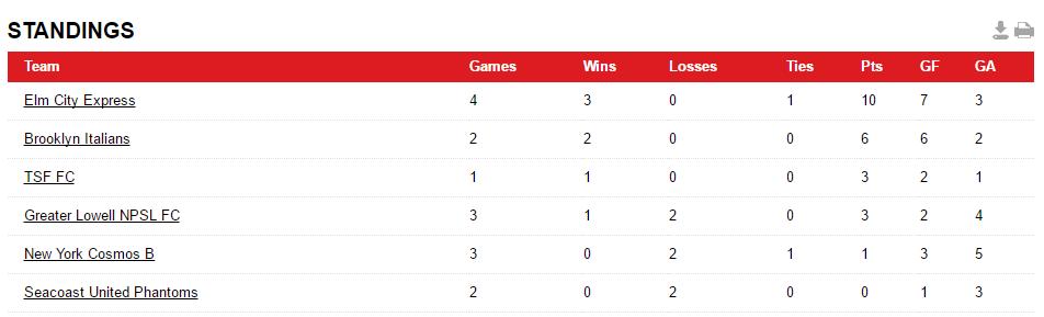 NSPL Standings