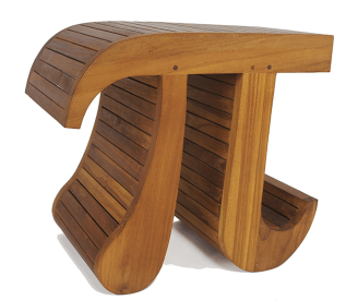Pi shaped teak shower bench