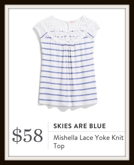 Skies are Blue Mishella Lace Yoke Knit Top