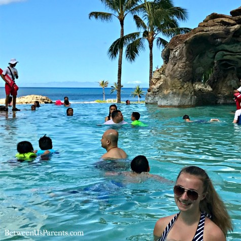 Things to do at Disney's Aulani, including listening to dolphin sounds under the water in the pool