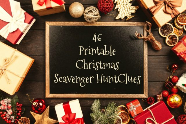 46 Printable Christmas scavenger hunt clues