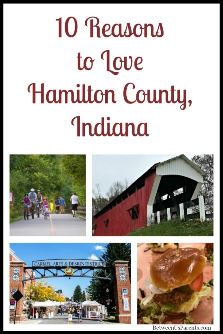 Scenes from Hamilton County, including biking and a pork tenderloin slider