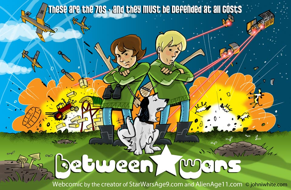 Boys and their dog in a shite-strewn field with a barn behind being blown up by Stuka Dive Bombers and Imperial T.I.E. fighters! From this 1970s style comic.