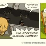 Jack hurls his Stick-Bomb through the slit in the Panzer tank!