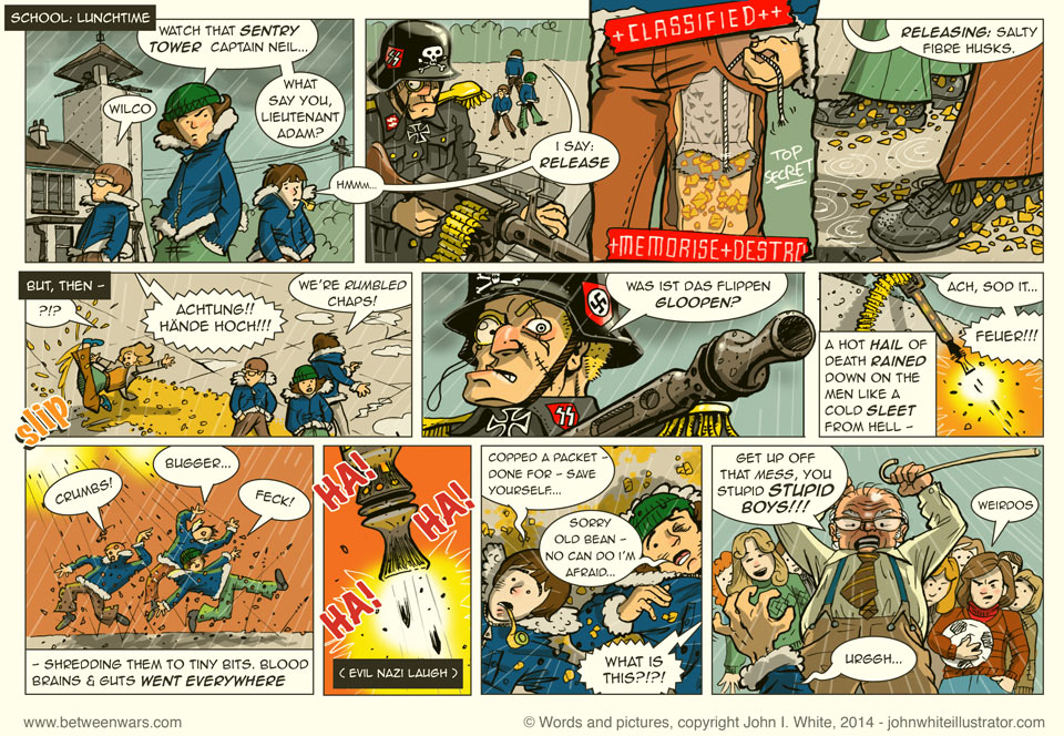 The boys' school is like a German prison camp, complete with machine-gun sentry tower. They will try to dispose of the unwanted breakfast cereal - 1970s Irish style comic page