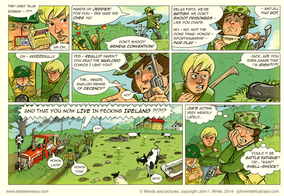 Jack, Jim and Neal are playing soldiers when Jack gets annoyingly British about it all - 1970s Ireland style comic page