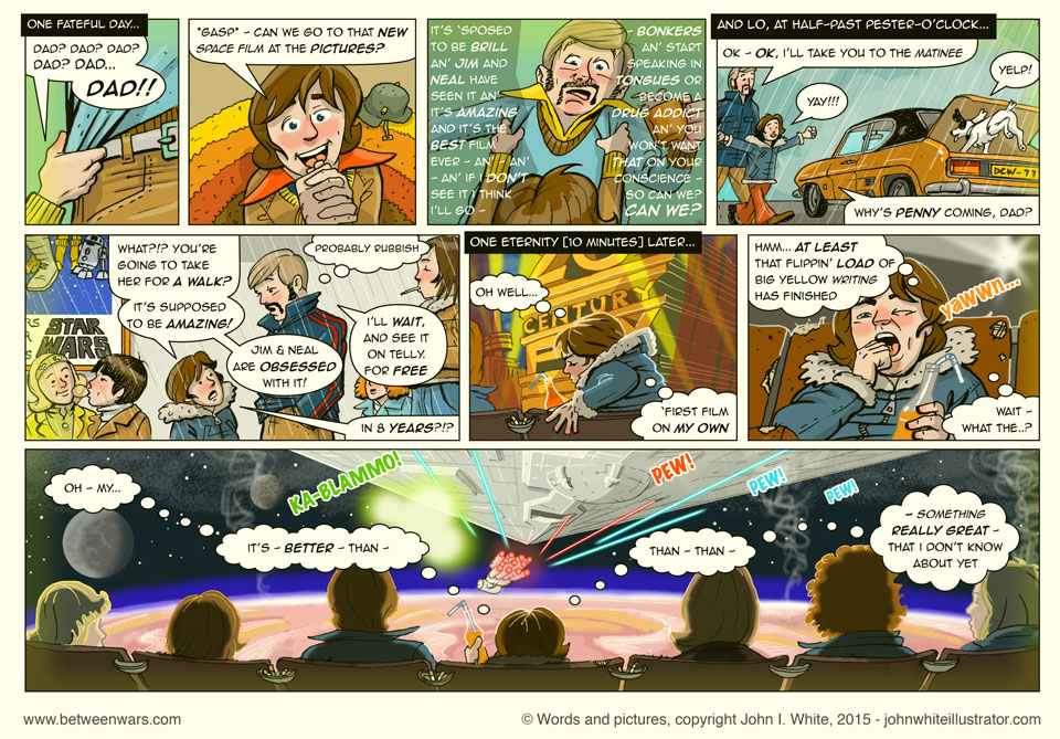 Jack goes to see Star Wars for the first time in 1977! - 1970s Irish style comic page