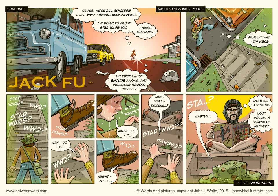 Jack undertakes an arduous quest for enlightenment, a la the 1970s TV show: Kung Fu - 1970s style Irish comic page