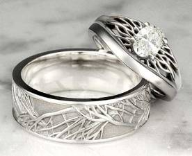 Unique-Wedding-Band-Tree-Of-Life-Set