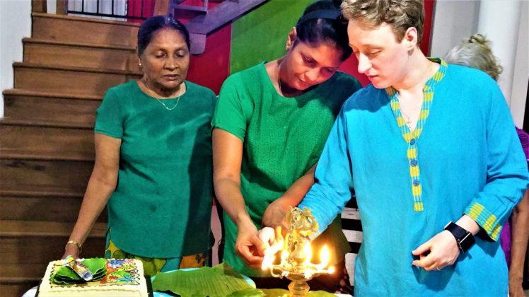 Bev & Shams lighting the Hearth during Sinhala New Year Celebrations