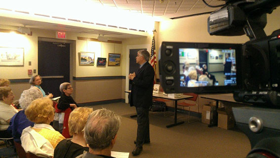 """Steven Puleo discusses the """"Caning"""" in the Sohier Room at the Beverly Library"""