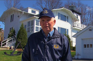 Phil Karwowski on location at Hospital Point Light in Beverly