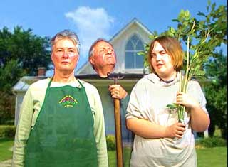 Sandra Lawson, Bob Hobbs and Hannah Tsukroff tape a PSA for the Friendly Garden Club
