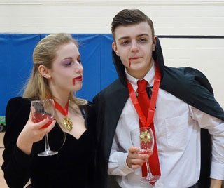 Jen Benton and Robbie Rowe as Count & Mrs Dracula attend the blood