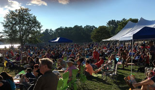 "A large crowd settles in for the annual ""Lip_Sync"" extravaganza at Lynch Park"