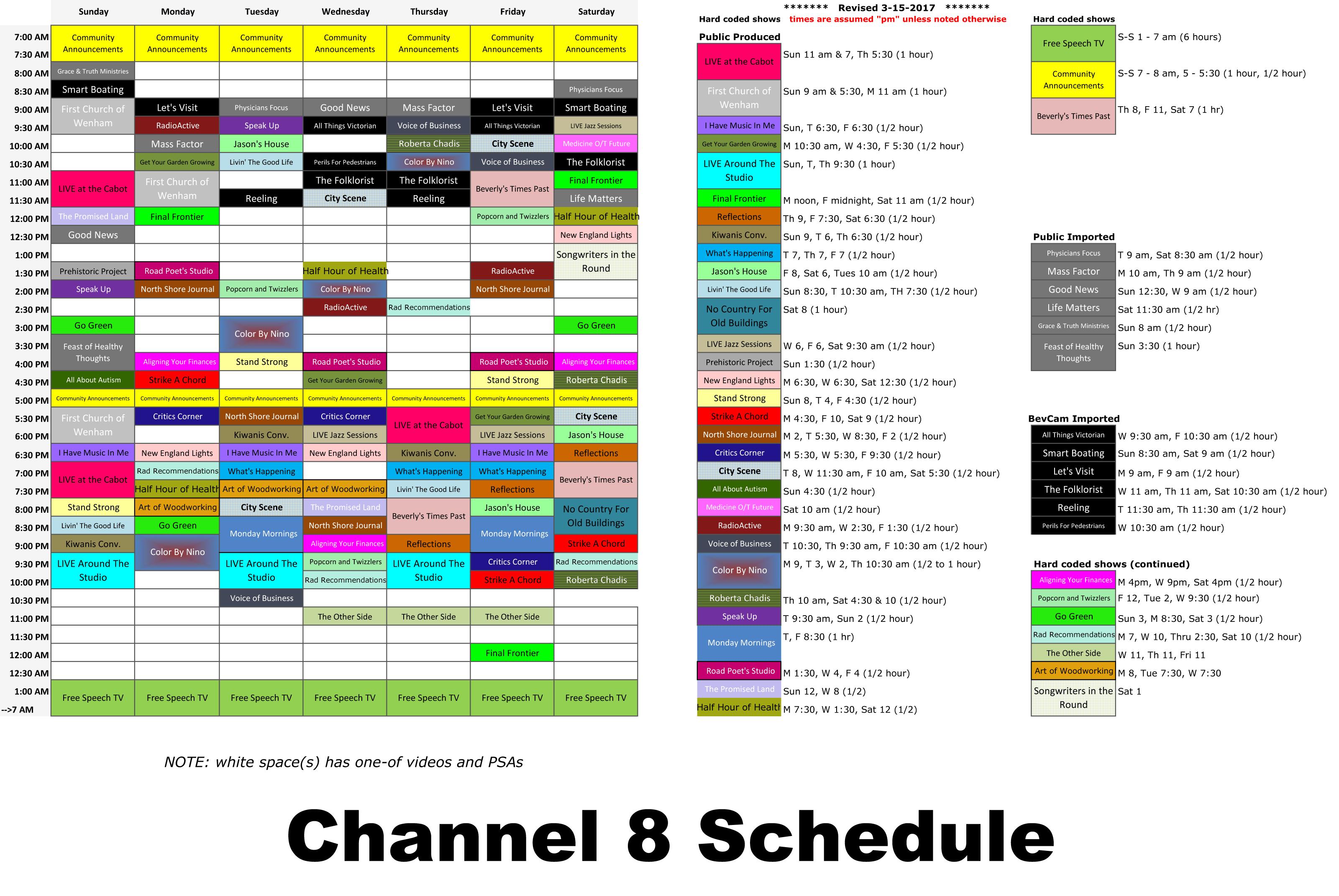 Channel 8 Schedule (rev 3-15-2017) - BevCam